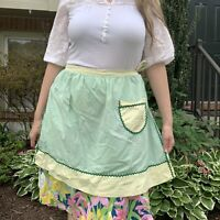Vintage 1960s Half Apron Green And Yellow Apron With Ric-Rac Trim