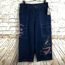 Women's Democracy Weekend Cropped Wide Leg Pants Embroidered Asian Design Blue