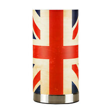 Modern Distressed Style Brushed Chrome Union Jack Flag Touch Table Lamp Light