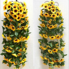 Artificial Yellow Sunflower Silk Garland Vine Wedding Party Decor Accessories