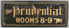 Antique Hand Painted Gold Gilt Sandpaper Wood Sign, THE PRUDENTIAL Hotel Rooms