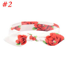 Fashion Baby Kids Flower Headband Knot Bow Turban Rabbit Ear Hair Band Headwear #2