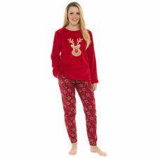 Foxbury para Mujer Navidad Reno Print Polar Top & Pantalones Pijama Set, Rojo