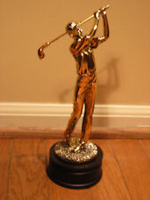 "Male Golf Statue Gold Electroplated Resin Award Trophy 9-3/4""- FREE SHIPPING"