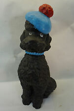 VINTAGE RUBBER SQUEAK TOY TALL POODLE DOG WITH TAM HAT BLACK BLUE SUN WORKS 50s