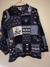 Adele Knitwear Vintage 80's Blue White Nordic Heart Snow Ski Sweater  M