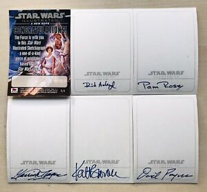 STAR WARS Set Of 5 Sketchagraphs, 5 Actor Autograph Cards!