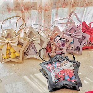 Lolita Star Shape Itbag Transparent Bag Cute JK w/ Bow Tote Girl Cosplay Bag Big