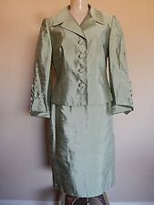 Rickie Freeman Teri Jon  Mint Green Sz 8 Woman Skirt Suit 100% Silk  Biege Lined