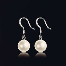 Beautiful 18K White Gold Plated Silver Filled Shell Pearl Earrings EP12