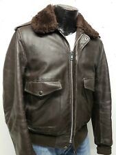 Vintage SCHOTT Leather Bomber Jacket Brown Sherpa Collar and lining Men's Medium