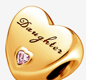 New PANDORA Daughter's Love Charm 14K Gold Vermeil Plated 791726PCZ Daughter Luv