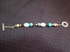 """Carolyn Pollack Sterling Silver Mixed Turquoise Toggle Bracelet, 7.5"""""""