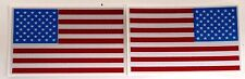 "1  REVERSED, 1 REGULAR REFLECTIVE AMERICAN FLAG FIRE HELMET DECALS 2"" x 1.25"""