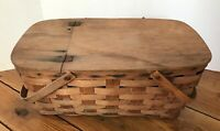 "Vintage Woven Picnic Basket Hinged 20""L  X 9""H  X 11""W Double Swing Handles"