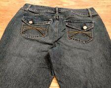 Cato women's denim jeans Wide Leg Sz 12 W-34 L-33 R-11 Flap pockets EUC