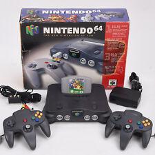 N64 / Nintendo 64 Konsole + 2x Neu Controller Schwarz + Super Mario 64 ► OVP
