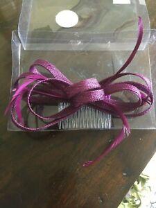 Dark Plum/Purple Mesh/Feather Hair Comb Fascinator New in Box