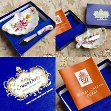 "VINTAGE Royal Crown Derby ""Fiorellini"" BURRO BACINELLA & Knife Set Originale Box & Papers"