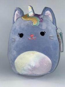 "Squishmallow 8"" Clarice the Blue Caticorn Unicorn Cat Rainbow Mane Plush Summer"