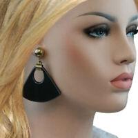 """Vintage 1980S Black Glitter Chunky Big Mod Bell Dangle Pierced Earrings 2 3/4"""""""