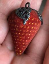 Vintage Antique Strawberry Pin Cushion Emery Sterling Silver Repousse Sewing