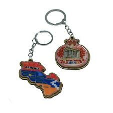 Keychain set Armenian Map with engraved Ararat on backside Pomegranate shaped