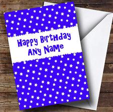 Blue & White Stars Personalised Birthday Greetings Card