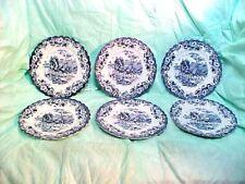 "6 Small plates JOHNSON BROS. COACHING SCENES - SIDE, DESERT PLATES Blue 6 1/4""R"