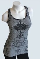 100% Cotton Women's Fashion OM Yoga Tank Top with Braided Trim Size Large