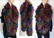 Echarpe longue Multicolore Chic et chaude en fourrure synthétique à poils longs