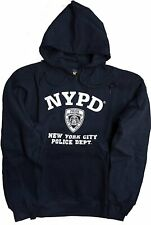 NYPD Mens Hoodie White Print Officially Licensed Sweatshirt Navy Blue Gray