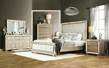 NEW Champagne Finish & Mirror 5 piece Bedroom Set w. Faux Leather Queen Bed ICAU