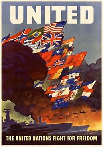 WW2 US Propaganda Poster - The United Nations Fight for Freedom, United Nations