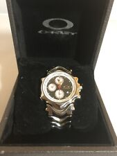 New Oakley GMT Polished Band With Black / White Dial Chronograph Watch X-Metal