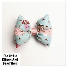 1 GIRLS BLUE SHABBY CHIC PADDED FABRIC & LACE BOW PINK RIBBON COVERED HAIR CLIP