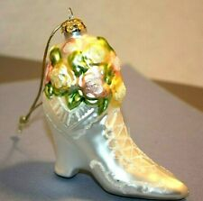 Victorian Style White Boot W/Roses Glass Christmas Ornament