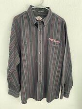 Harley Davidson Button Shirt Mens L Red Black Stripe Embroidered Long Sleeve