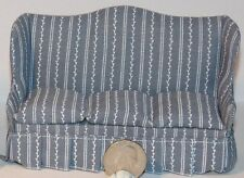 Dollhouse Miniature Blue/Gray White Sofa 1:12 one inch scale F78 Dollys Gallery