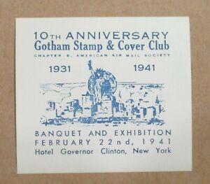 PHILATELIC 1941 10th ANNIVERSARY GOTHAM STAMP & COVER CLUB Souvenir Sheet SeePic
