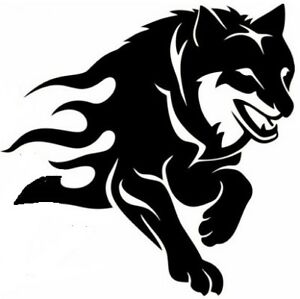 LARGE 21x18 wolf head tribal flames vinyl graphic decal car van bonnet stickers