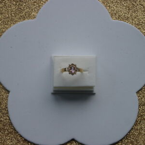 AMETHYST & WHITE TOPAZ RING IN 14K YELLOW GOLD OVER 925 STERLING SILVER IN BOX