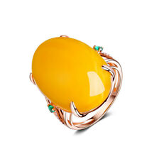 Unique Creative Natural Yellow Beeswax Amber Ring Holiday Ladies Jewelry Gifts