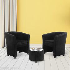 HOMCOM Club Chair Upholstered Tub Set Plush Armchair w/Ottoman & Cushion Black
