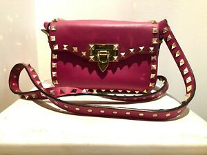 Valentino Small Pink Leather Gold Rockstud Bag