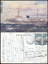 CEYLON JAVA HOLLAND MARITIME TPO 1936 PPC SHIP BALOERAN + FLYING BOAT