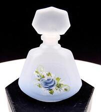 Français Cristal Signé Émerisée Rose Bleue 8.3cm Flacon de Parfum avec Bouchon