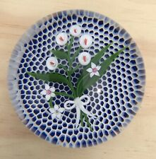 Rare Baccarat Paperweight Limited Lily Bouquet Honeycomb Cobalt Blue Background