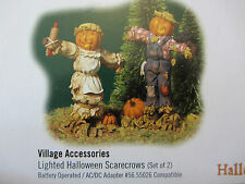 Dept 56 Lighted Halloween Scarecrows set of 2 Village Accessory #53061   (816DJ)