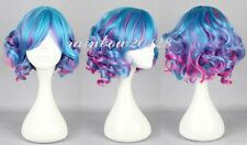 Blue Mixed Rose Red Cute Lolita Curly Wavy Short Anime Cosplay Wig